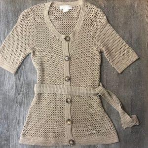Michael Kors SM Gold Knit Crocheted Cardigan